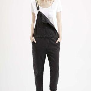 Topshop Moto, black jean overalls